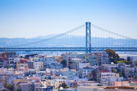 Oakland Bay Bridge view over the residential area in San Francisco California, USA