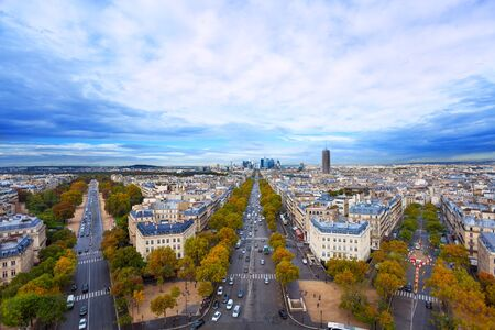paris france: Beautiful view from of Avenues from Arc de Triumph to La Defence and other streets