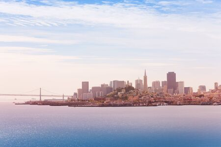 oakland: View on San Francisco downtown and Oakland Bay Bridge in California, USA