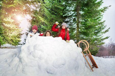 palle di neve: Bambini in inverno foresta che giocano a palle di neve, trascorrere attivamente tempo all'aperto Archivio Fotografico