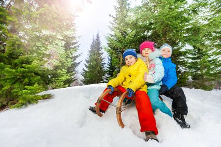 skids: Group of little boys and girls in colorful clothes on the sledge slide down the slope