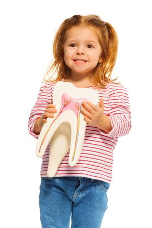 little one: Cute little girl holding tooth model in her hands, isolated one white Stock Photo