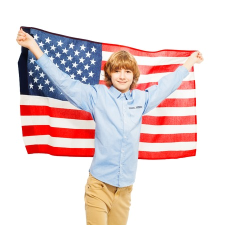 boy 15 year old: Picture of American teenage boy waving star-spangled banner, isolated on white background