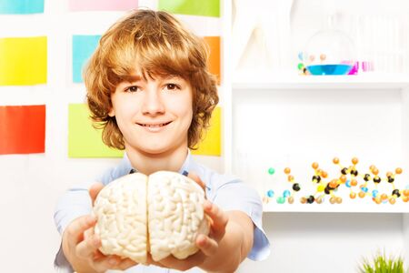 cerebrum: Young 13 years old boy holding cerebrum model at the biology room Stock Photo