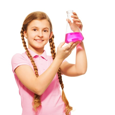 13 15 years: Young scientist pouring pink chemicals at the flask, isolated on white background Stock Photo