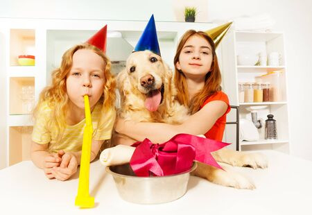 Two happy sisters, girls in party hats, celebrating birthday of their pet - Golden Retriever Фото со стока