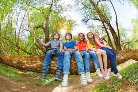 Group of five kids sitting in line on trunk of fallen tree in summer park