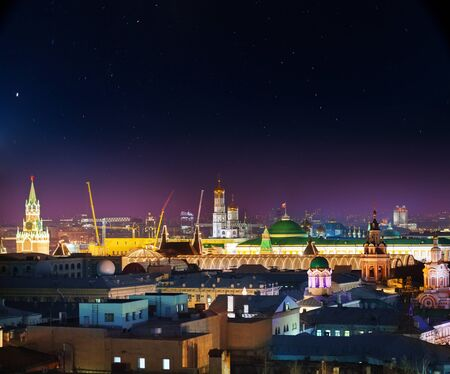 Beautiful night view of the illuminated Red Square, Moscow Stock Photo