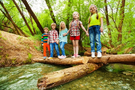 friendship: Portrait of five little boys and girls, standing holding hands on a log bridge over river in the forest Stock Photo