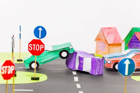 crossings: Traffic accident on a crossings at the toy city