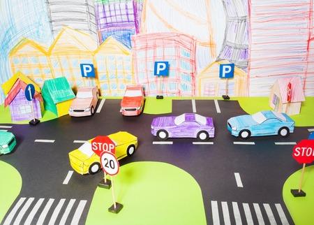 道路和紙マケットのトラフィック 写真素材
