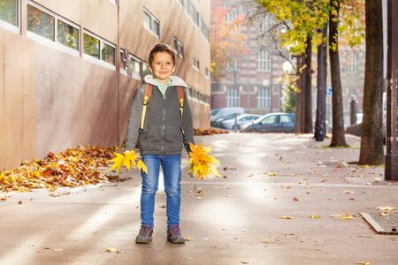 schoolboy: Happy schoolboy holding bunches of yellow leaves Stock Photo