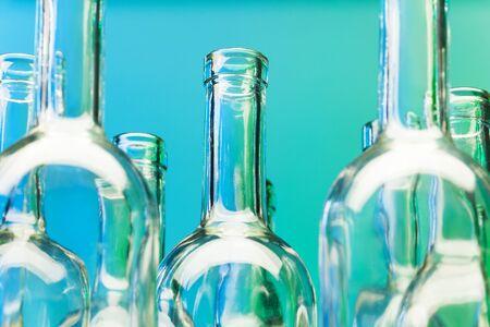 bottlenecks: Crystal bottlenecks of empty glass wine bottles