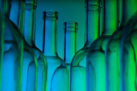 bottlenecks: Bottlenecks of empty glass wine bottles