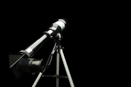 eyepiece: Close up of telescope eyepiece over black Stock Photo
