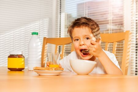 Adorable little boy eating corn flakes in kitchen Stock Photo
