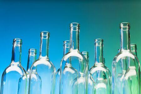 bottlenecks: Crystal bottlenecks of empty glass bottles