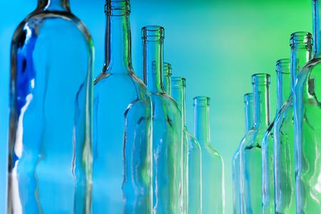 bottlenecks: Bottlenecks of glass bottles standing in line