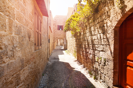 Ancient narrow street of medieval old town, Rhodes