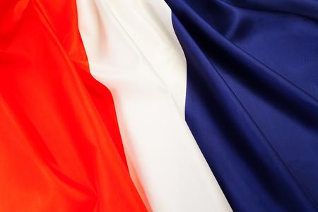 pleated: Full framed silky pleated flag of France Stock Photo