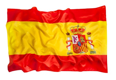 Spanish flag of silk waving on white background