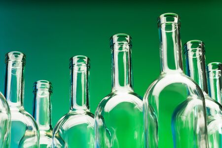 bottlenecks: Picture of seven empty wine bottles bottlenecks Stock Photo