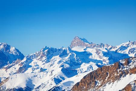 freeride: Beautiful landscape of snowcapped mountain peaks Stock Photo