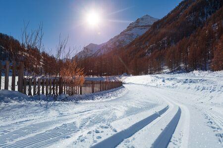 snowcat: Snowcapped road to ski resort with snowcat tracks