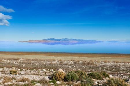 salinity: Beautiful view of Great Salt Lake at sunny day, Utah, America Stock Photo
