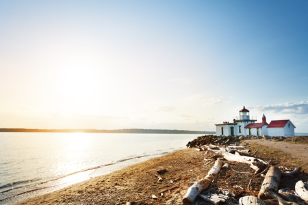 Bay of Puget Sound with West Point Lighthouse, WA Stock Photo
