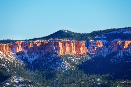 Lovely mountain scene of Bryce Canyon in the sun