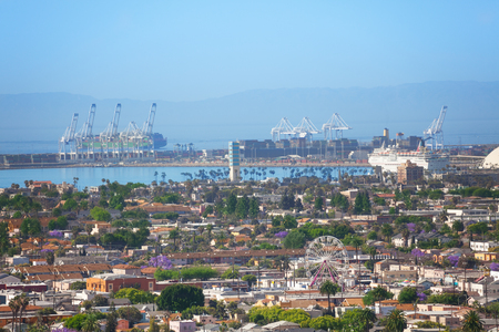 Long Beach harbor and biggest shipping port of US