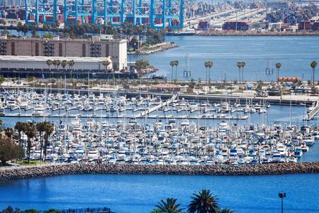 Long Beach marina with anchored yachts, LA, USA