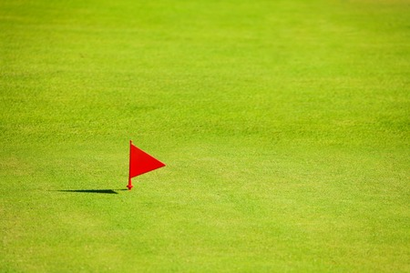 Putting green with red flag marker on golf course
