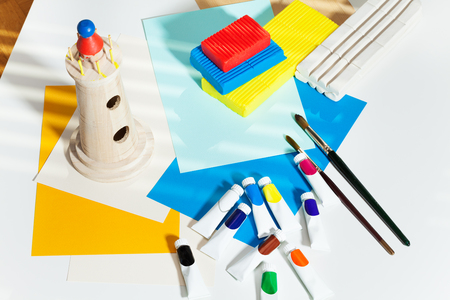 Set of stationery for art and creations Stock Photo