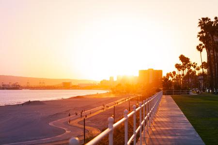 Beautiful sunset over the Long Beach coastline Stock Photo