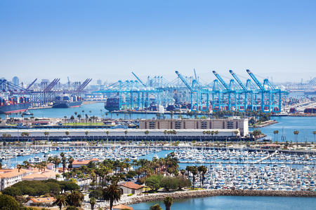 Long Beach marina and shipping port at sunny day