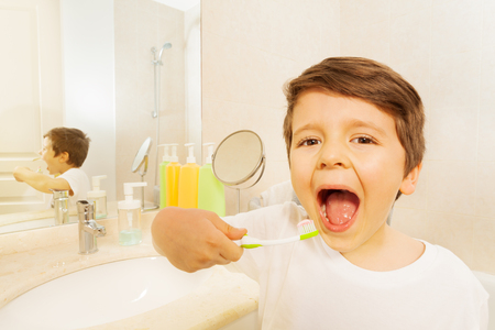 Boy with toothbrush and mouth wide opened