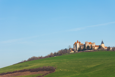 Pasture and castle of Chateau de Chateauneuf