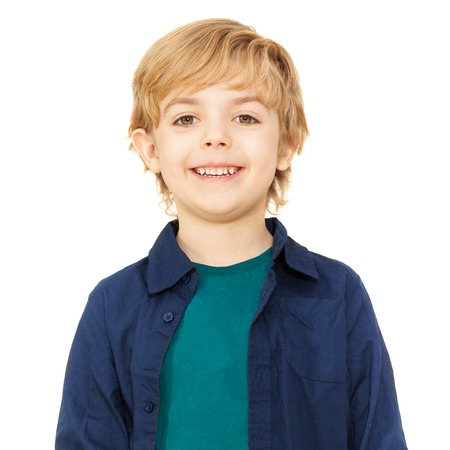 seven persons: Close-up portrait of joyful blond schoolboy