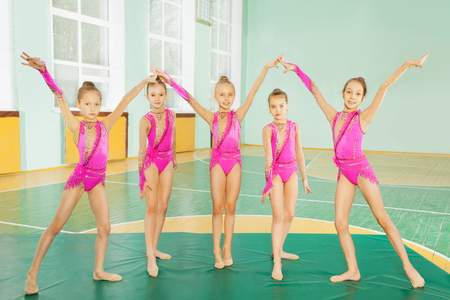 Group of 11-12 years old girls wearing pink leotards, practicing rhythmic gymnastics, standing on row in school gymnasium Stockfoto