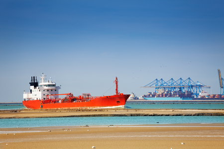 Tanker at the commercial loading dock of Le Havre