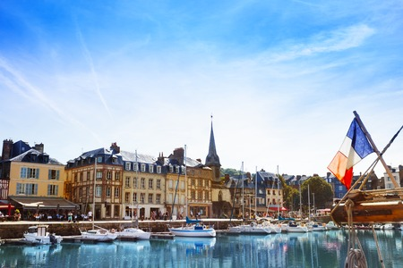 normandy: Honfleur harbor with sailboats at sunny day Stock Photo