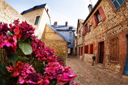 Old tranquil street of Honfleur with brick houses