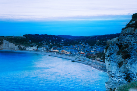 Aerial view of night Etretat, Normandy, France