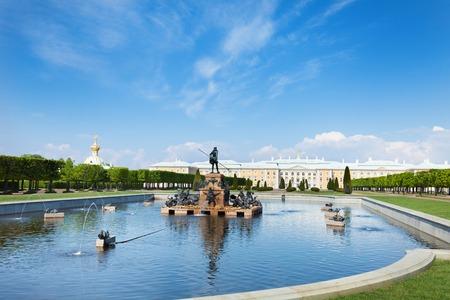 Neptune Fountain against Perterhof Grand Palace