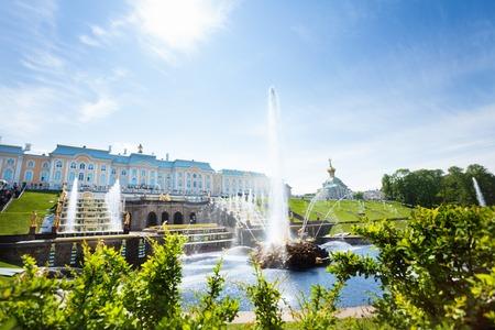 Samson Fountain at Grand Peterhof Palace, Russia Stock Photo