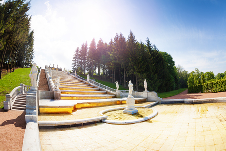Scenic view of the Marly or the Golden Hill Cascade at Lower Park of Peterhof, Russia