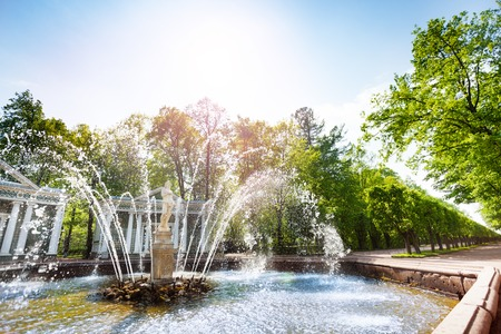 Marly avenue with the Adam fountain in the Lower Park of Peterhof at sunny day