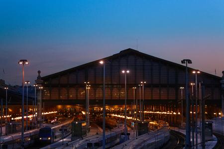 Terminus station Gare du Nord at night, Paris, France